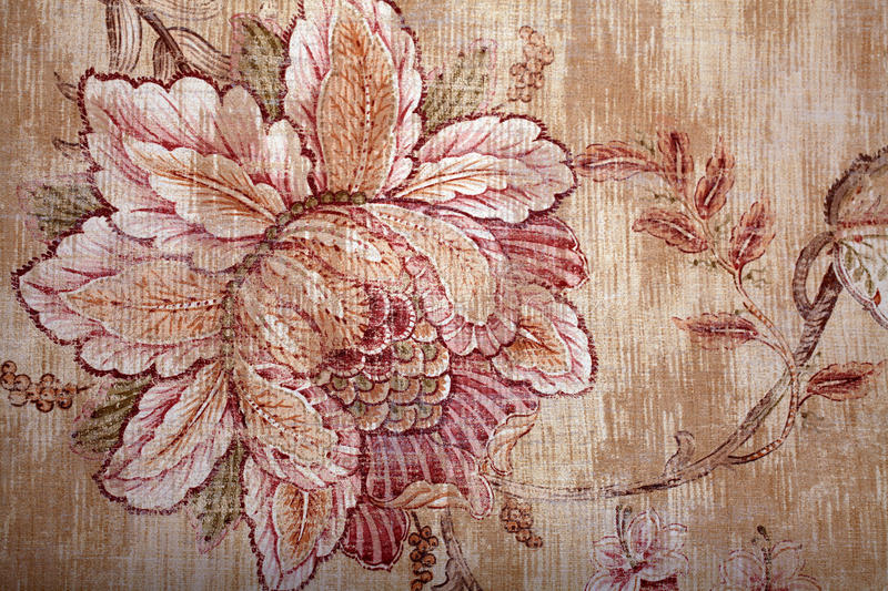 Vintage shabby chic brown wallpaper with floral victorian patter royalty free stock photography