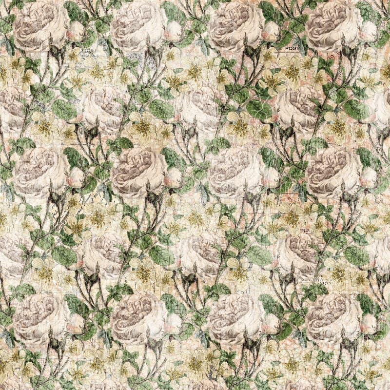 Download Vintage Shabby Chic Rose Background Texture Stock Illustration - Illustration: 20986928