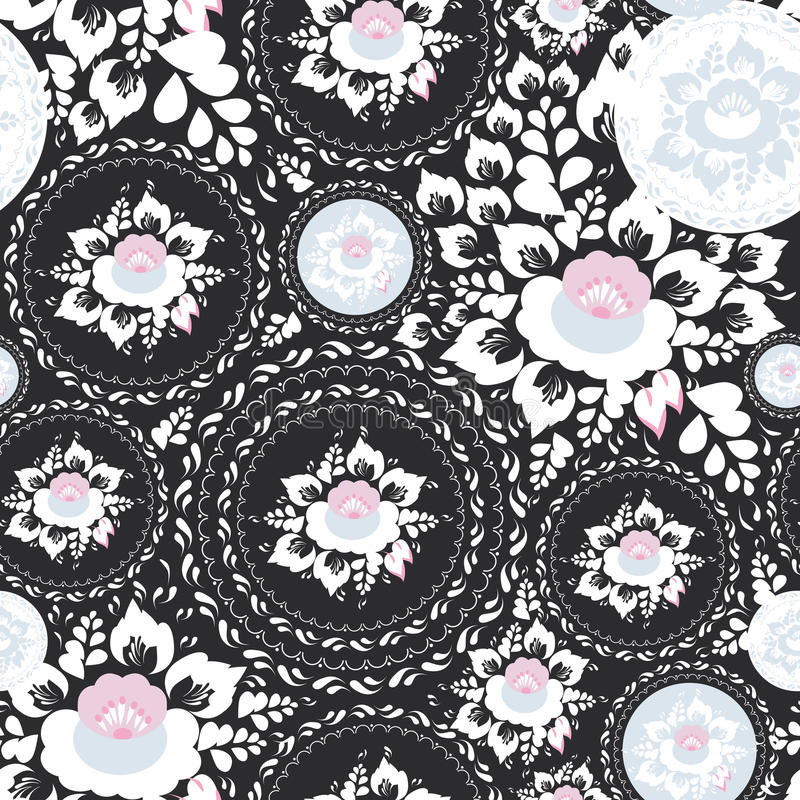 Vintage shabby Chic Seamless ornament, pattern with Pink and white flowers and leaves on black background. Vector royalty free illustration