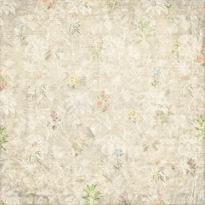 Vintage shabby faded flowers pattern paper background stock photography