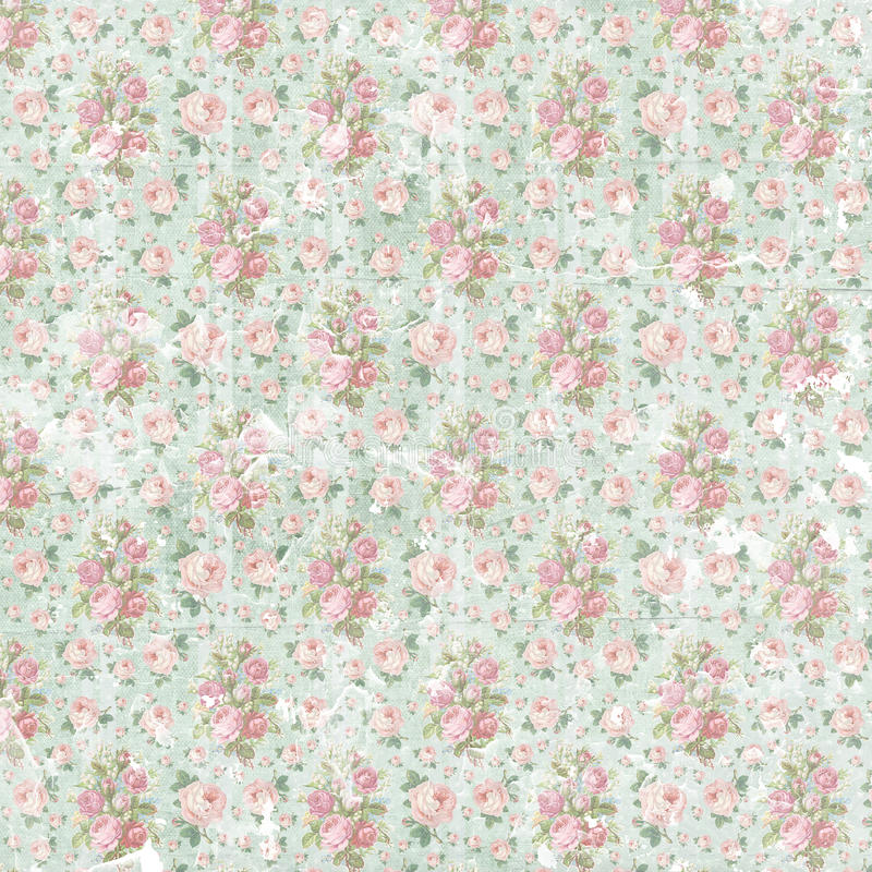 Vintage shabby floral paper background. Vintage shabby floral paper wallpaper. Template for decoration and design stock photography