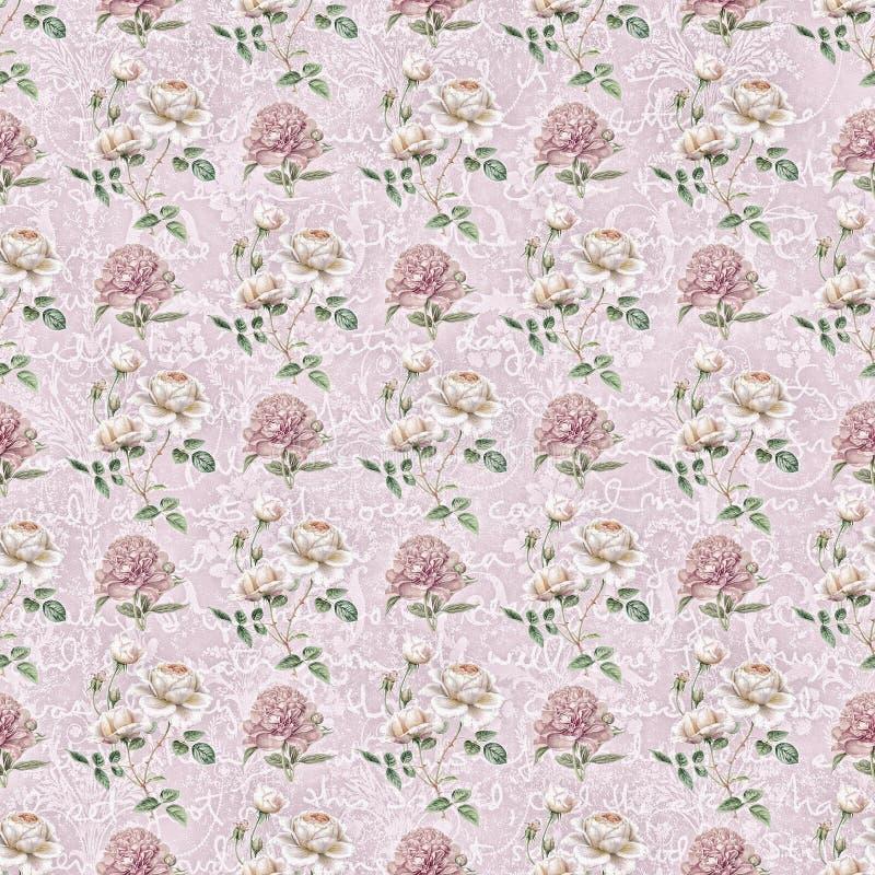 Vintage shabby flower wallpaper stock images