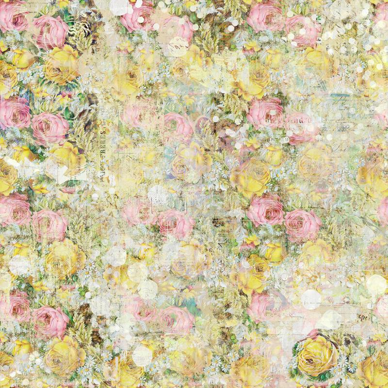 Vintage shabby painted floral roses background seamless pattern stock illustration