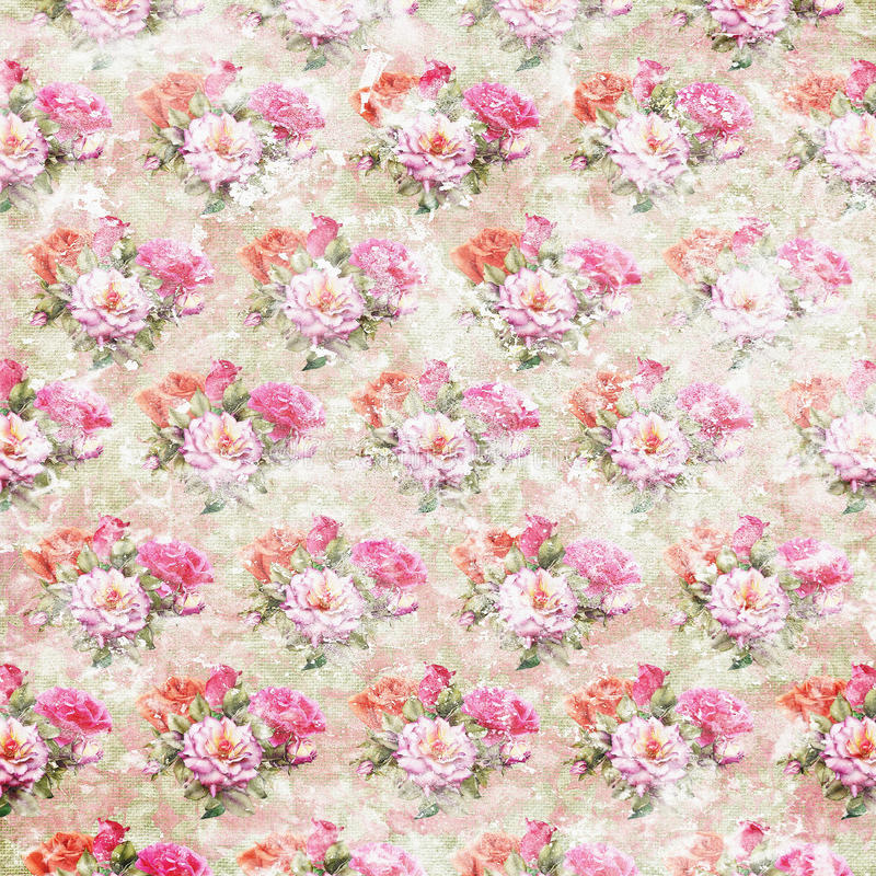 Vintage shabby roses wallpaper. Vintage faded wallpaper with roses stock photography
