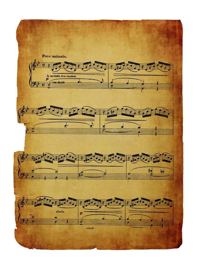 Vintage sheet music isolated on white. Vintage sheet music isolated on a white background royalty free stock photos