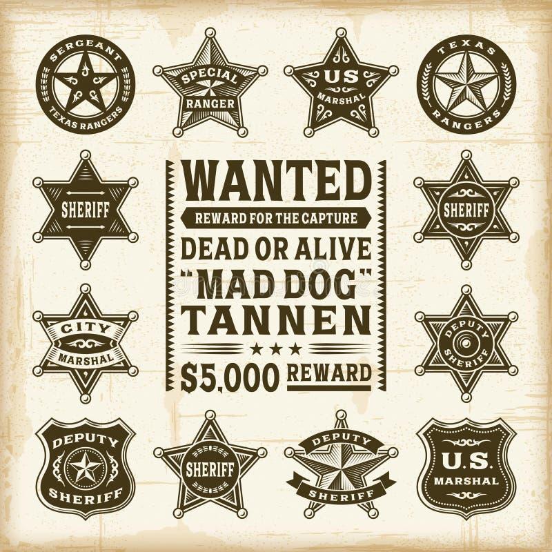 Vintage sheriff, marshal and ranger badges set. A set of fully editable vintage sheriff, marshal and ranger badges in woodcut style. EPS10 vector illustration vector illustration