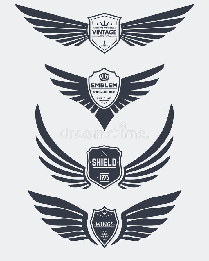 Vintage Shields And Wings Stock Vector Illustration Of Collection
