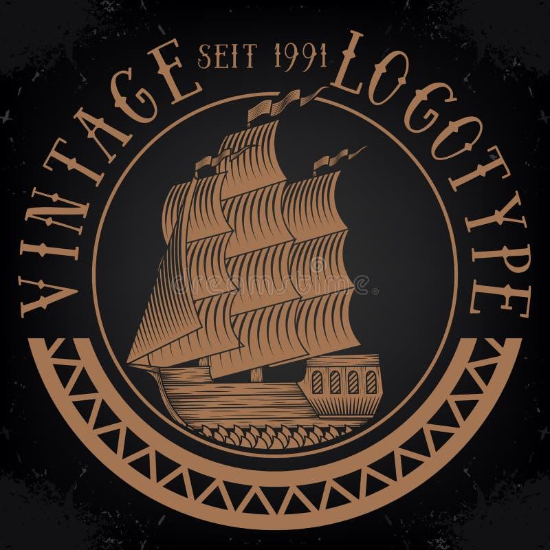 Vintage ship logotype stock image