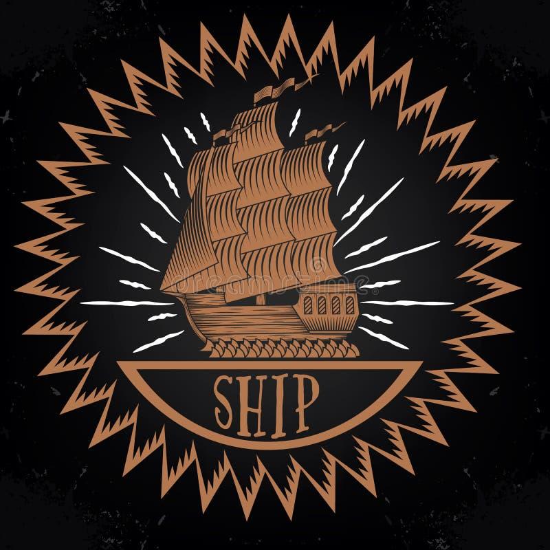 Vintage ship logotype royalty free stock image