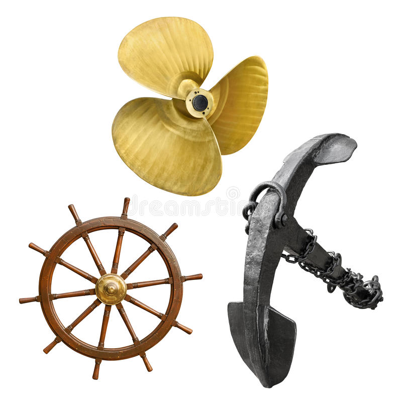 Vintage ship parts on white. Vintage ship propeller, anchor and steering wheel in a set, isolated on white background stock photo