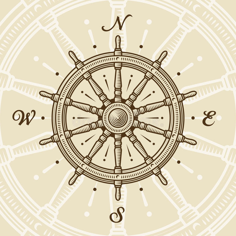 Vintage ship wheel. In woodcut style. Vector illustration with clipping mask