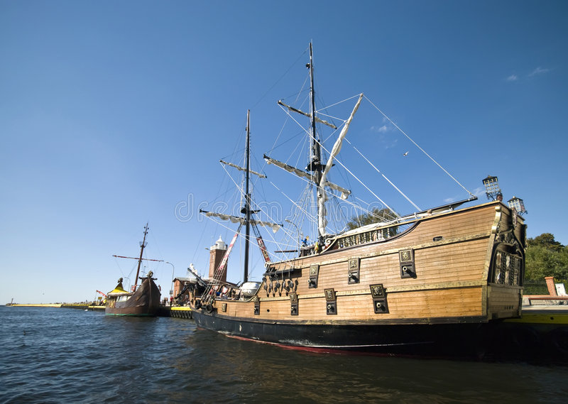 Download Vintage ships in port stock image. Image of historic, darlowko - 6057905