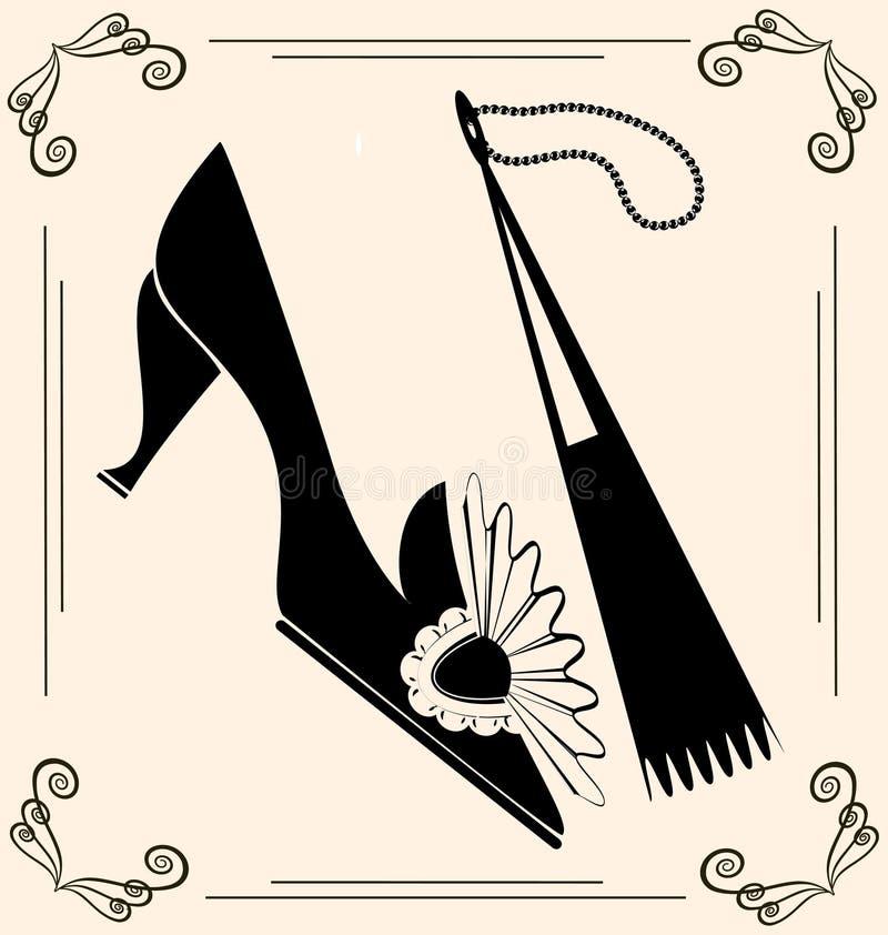 vintage shoe and fan vector illustration