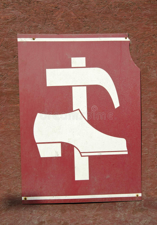 Vintage shoe repair shop sign royalty free stock images