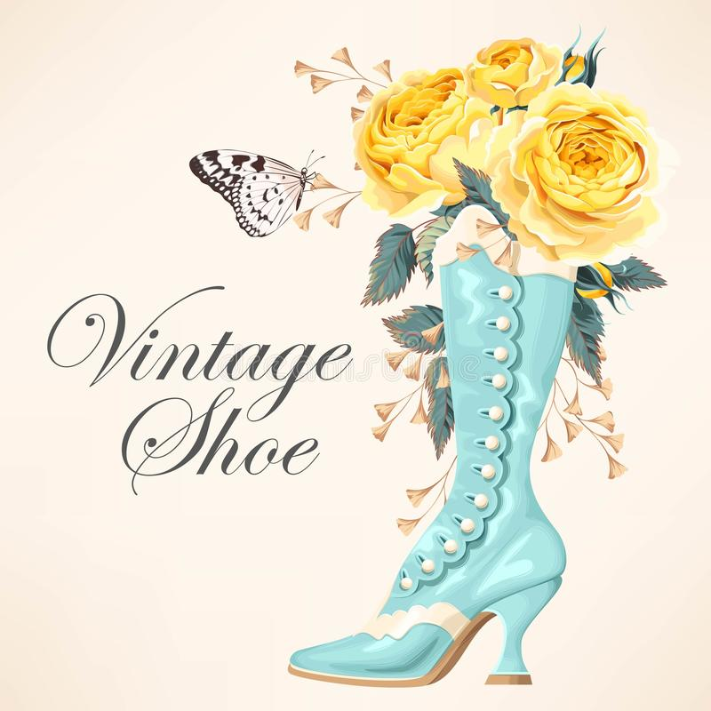 Vintage shoe with roses stock illustration