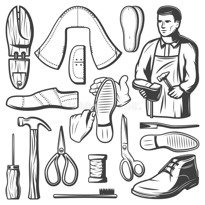 Vintage Shoemaking Elements Set vector illustration
