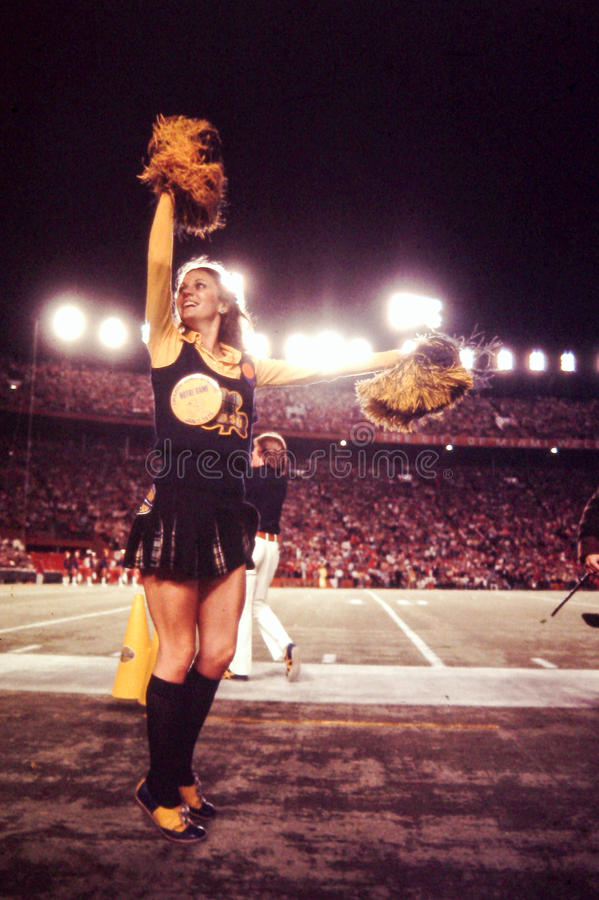 Vintage shot of Notre Dame Cheerleader royalty free stock image