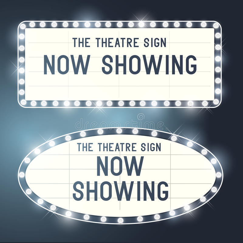 Vintage Showtime Signs. Vintage Showtime theatre cinema Signs with a glamorous feel. Vector illustration royalty free illustration