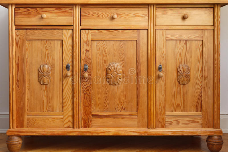 Vintage sideboard cabinet drawers doors royalty free stock photography
