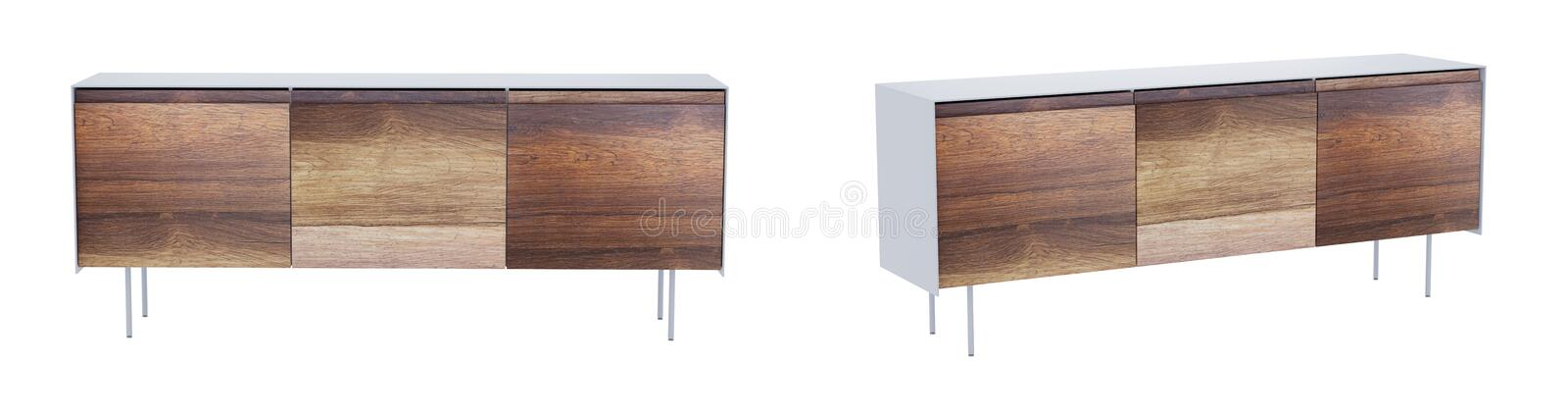 Vintage sideboard isolated on white with clipping path. 3D render. Vintage sideboard isolated on white background with clipping path included. 3D render image royalty free illustration