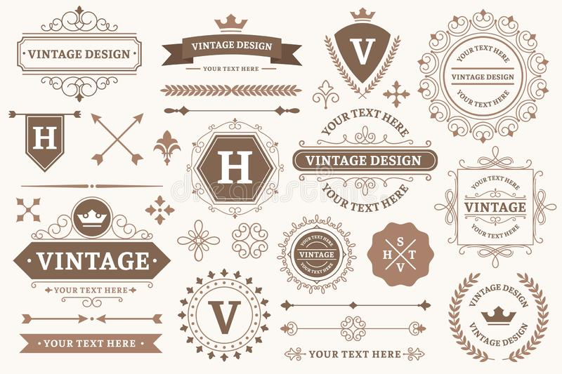 Vintage sign borders. Elegant frame, luxurious old design and antique typography border vector set. Vintage sign borders. Elegant frame, luxurious old design and royalty free illustration