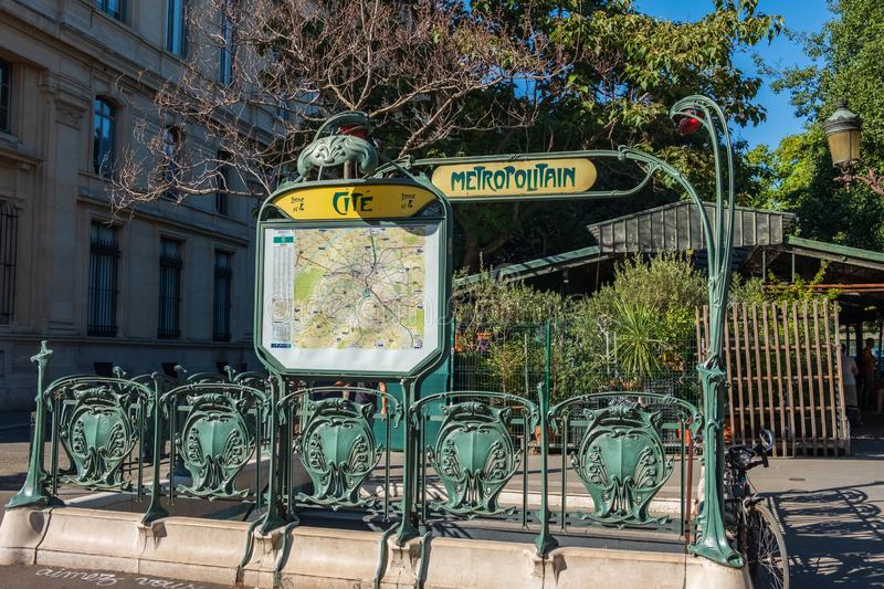 Vintage sign and decoration at the entrance to the metro in Paris. stock photo