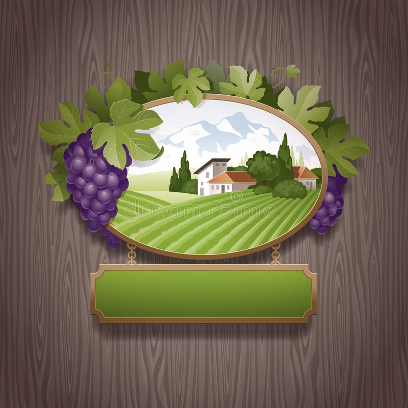 Vintage signboard with grapes. And image of country landscape against a stone wall royalty free illustration
