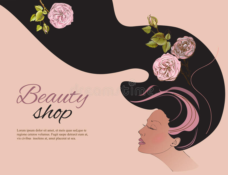 Vintage silhouette of beautiful girl vector illustration