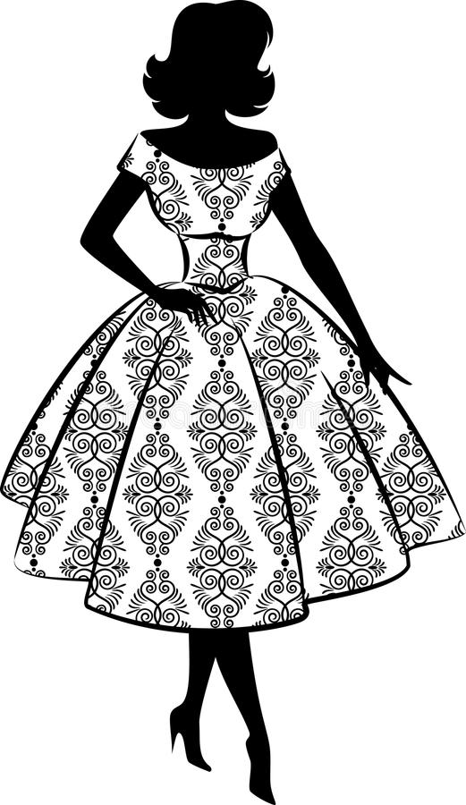 Vintage silhouette of girl. royalty free illustration