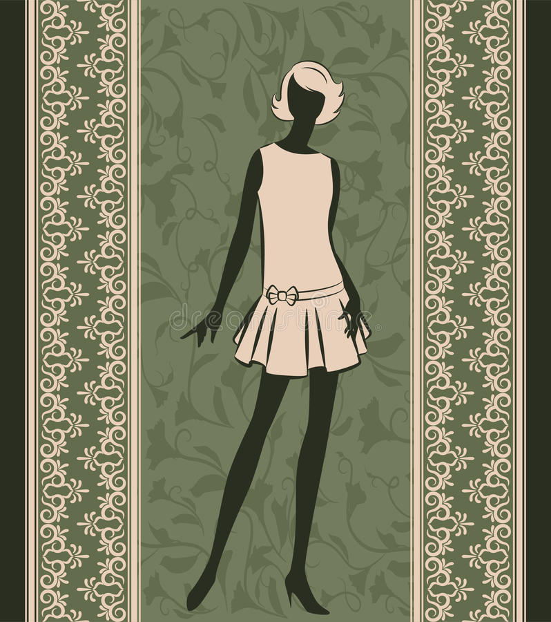 Vintage silhouette of girl royalty free illustration