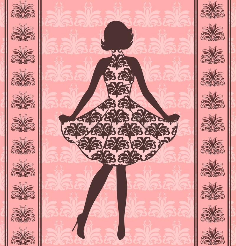 Vintage silhouette of girl . vector illustration