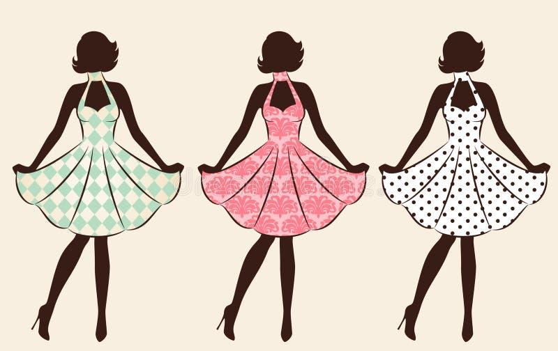 Vintage silhouette of girl . stock illustration