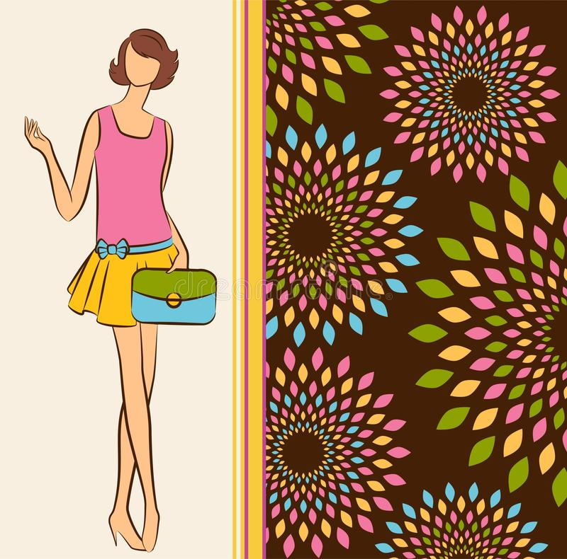 Vintage silhouette of girl with bag. stock illustration