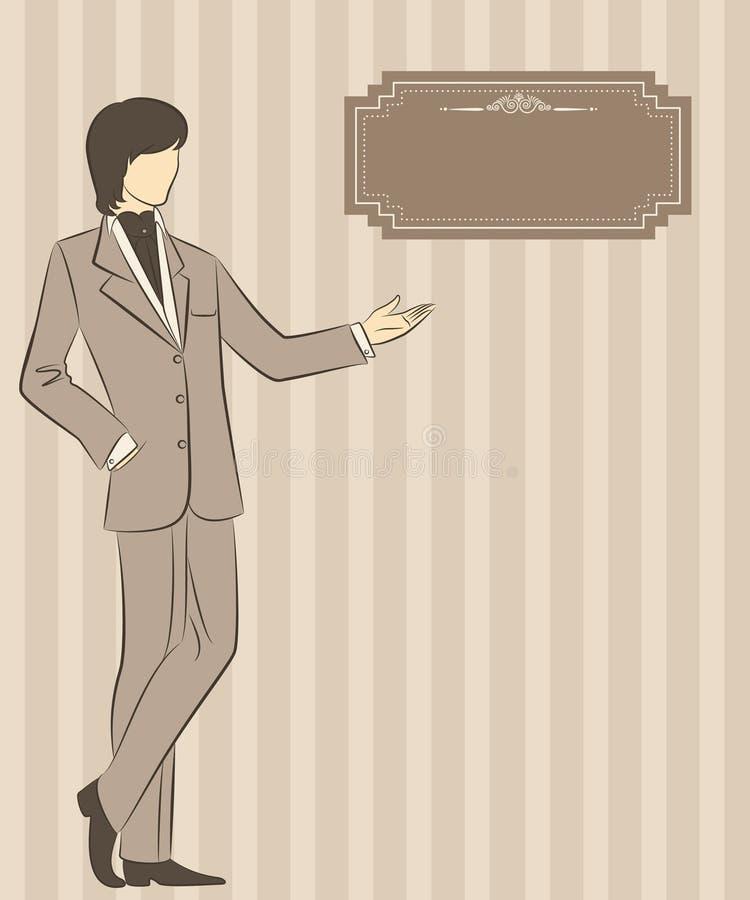 Vintage silhouette of man. vector illustration