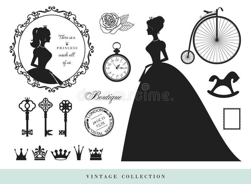 Vintage silhouettes set. Princesses, old keys, crowns, stamps. vector illustration