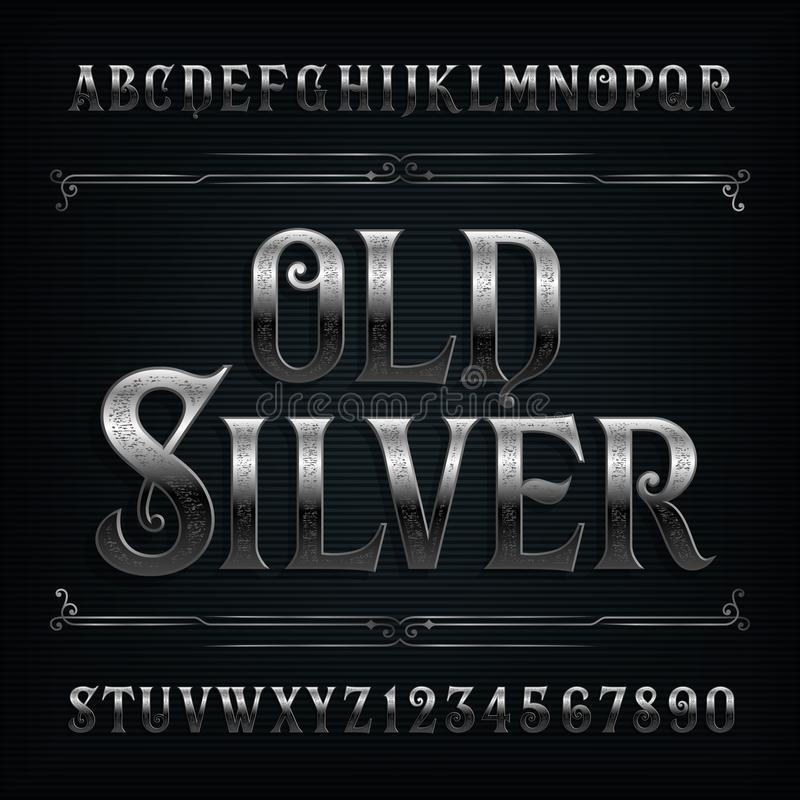 Vintage silver alphabet font. Old metal effect letters and numbers. Stock vector typeface for your design stock illustration