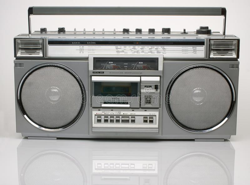 Vintage silver boombox on white background stock photo