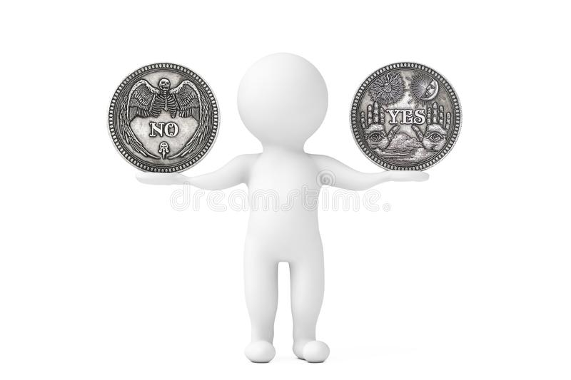Vintage Silver Flipping Coin with Yes and No Word for Make the Right Choice, Opportunity, Fortune or Decision in Life balancing in royalty free illustration