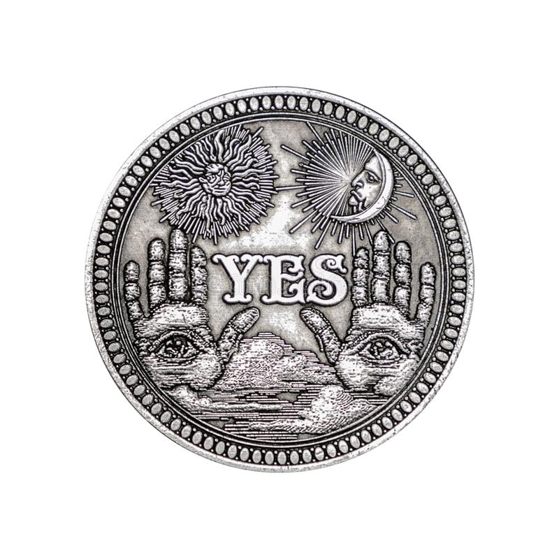 Vintage Silver Flipping Coin with Yes Word for Make the Right Choice, Opportunity, Fortune or Decision in Life royalty free stock photos