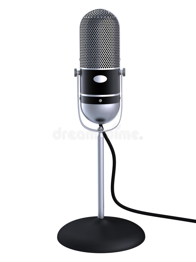 Vintage silver microphone. Isolated on white background stock illustration