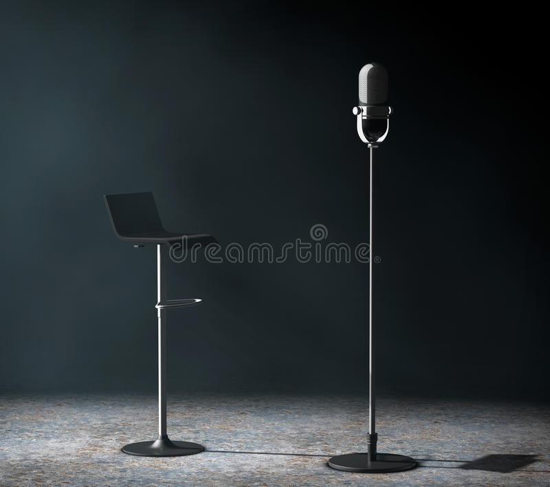 Vintage silver microphone with Chair in the volumetric light. 3d Rendering stock illustration