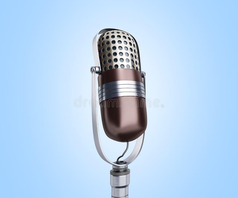 Vintage silver microphone close up on blue background 3d render. Image vector illustration