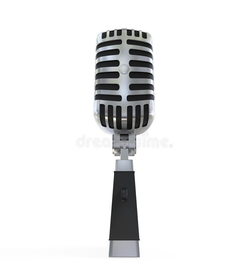 Vintage Silver Microphone. Isolated on white background. 3D render stock illustration