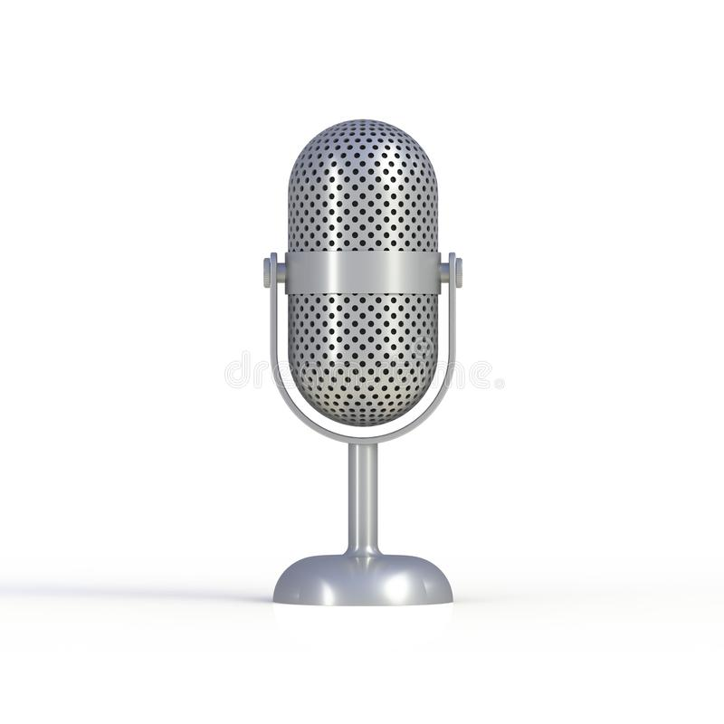 Vintage silver microphone isolated on white background stock illustration