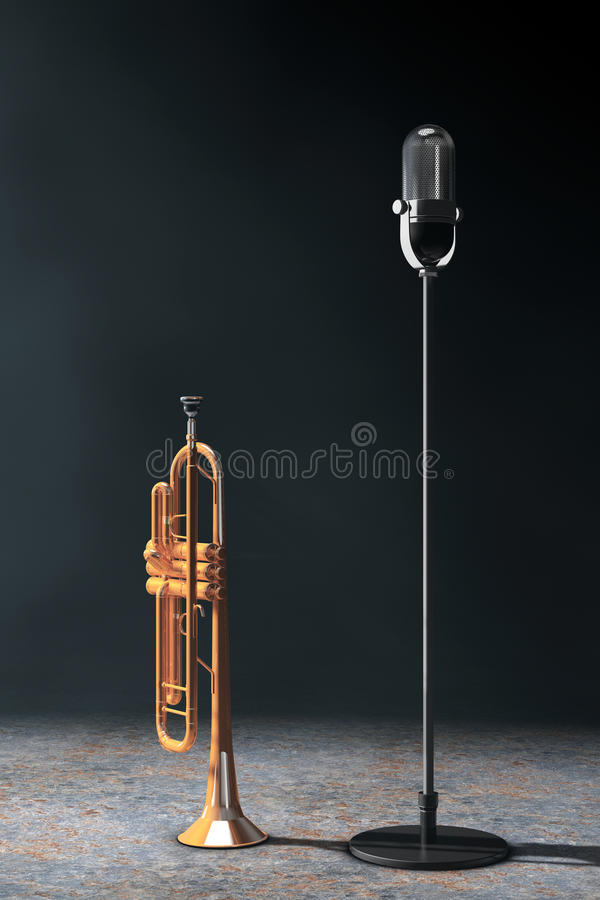 Vintage silver microphone with Polished Brass Trumpet in the vol. Umetric light on a black background. 3d Rendering stock illustration