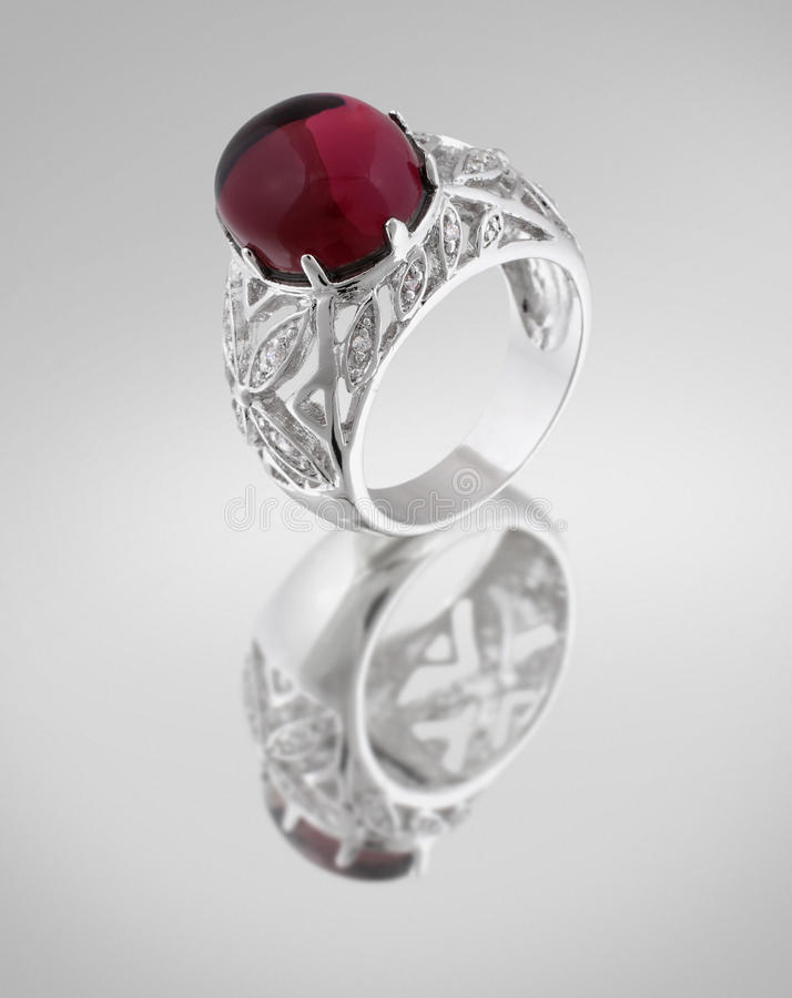 Vintage silver ring with red gem royalty free stock photos