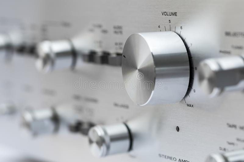 Vintage stereo amplifier stock photo