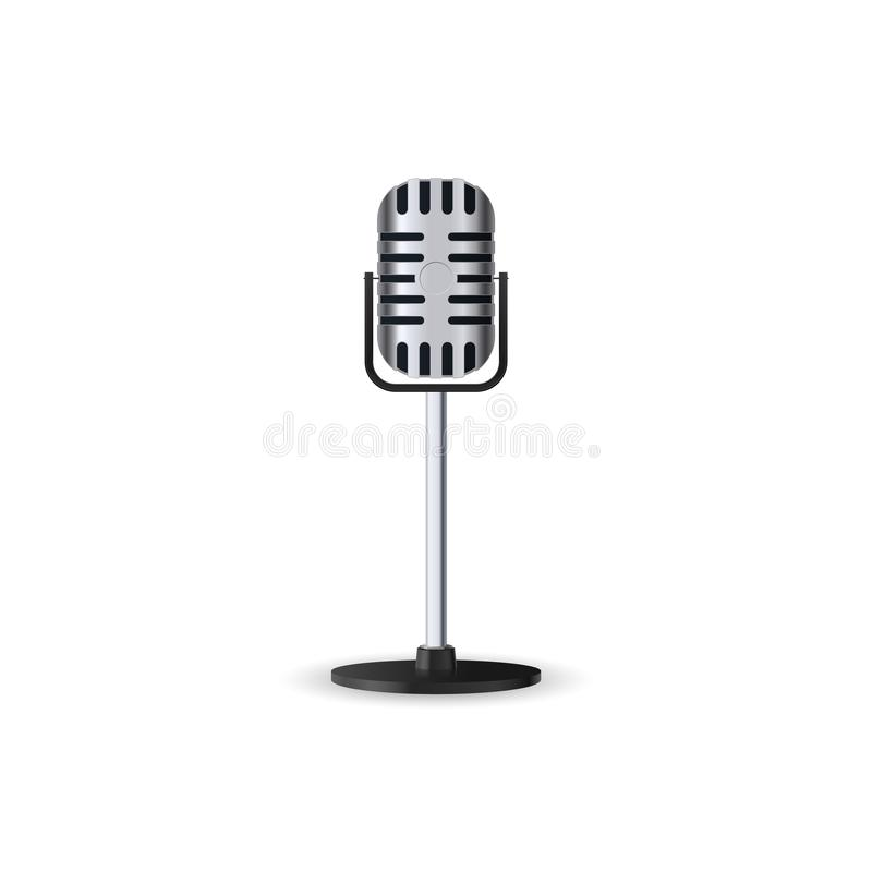 Vintage silver stereo studio microphone isolated on white background. Retro metal mic on a stance. stock illustration