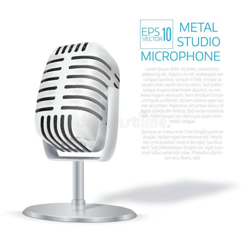 Vintage silver studio microphone. 3D realisic vector illustratio. N. Cover template royalty free illustration