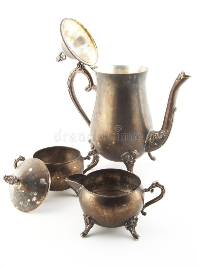 Download Vintage Silver Tea Set stock photo. Image of scratched - 2625226